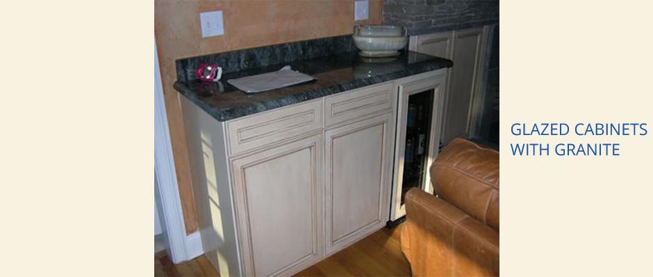 Woodbridge Custom Built Glazed Cabinets & Stonework